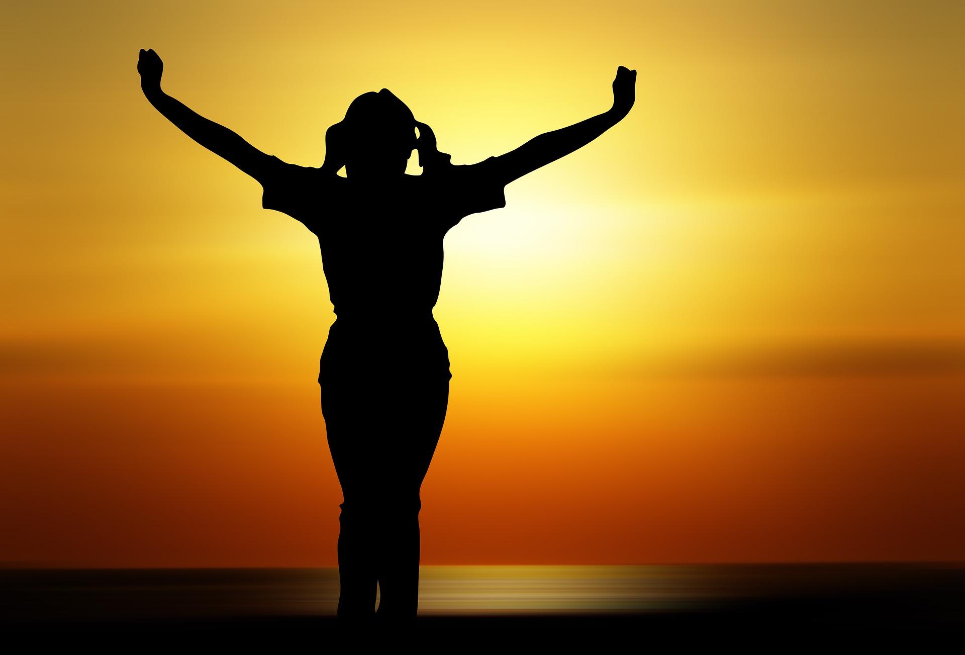 Høj Højere Person Glæde solnedgang smukt